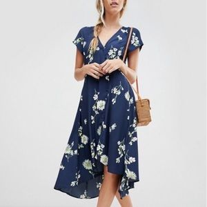 Free People Floral Print Button Front Dress Large
